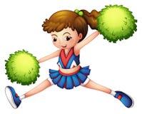 Cheerdancer с зеленым ponytail и зелеными pompoms Стоковые Изображения