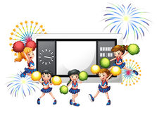 Cheerdancers with a scoreboard at the back. Illustration of the cheerdancers with a scoreboard at the back on a white background Royalty Free Stock Image