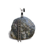 Cheered businessman climb on top of large rock, white baqckgroun Royalty Free Stock Photos