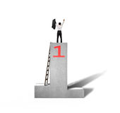 Cheered businessman standing on podium with wooden ladder Royalty Free Stock Image