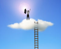 Cheered businessman on top of cloud face sun with ladder Stock Photo