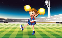 A cheerer performing at the stadium. Illustration of a cheerer performing at the stadium Stock Photo