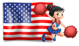 A cheerer and the USA flag Royalty Free Stock Photography