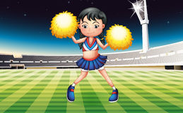 A cheerer with a yellow pompom. Illustration of a cheerer with a yellow pompom Stock Image