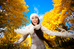 Cheerfu girl on a autumn sky background Royalty Free Stock Images