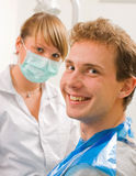 Cheerful. Young man at the sweet dentist Stock Photo