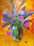 Abstract painting of flowers in glass vase by Carolyn Hassard. Acrylic painting of a flowers in a glass vase against a yellow, swirly background, with a lovely stock illustration