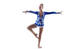 Cheerful acrobat girl dancing Stock Photos