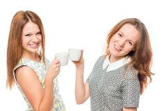 Cheerful active girl with coffee smiling Stock Photos