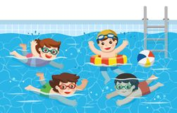 Cheerful and active Kids swimming in the swimming pool. Sport Team. Vector illustration vector illustration