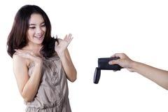 Cheerful adolescent girl get a car key Stock Photos