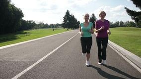 Cheerful adult fit women jogging in the park. Happy attractive senior females in sport clothes jogging in the park along the road. Healthy fitness women running stock video footage