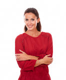 Cheerful adult lady with crossed arms Stock Photos