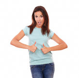 Cheerful adult woman with ok sign Stock Photos