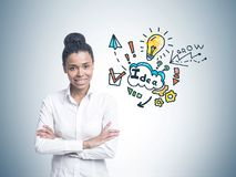 Cheerful African American woman, business idea Royalty Free Stock Photo