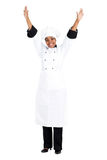 Cheerful African chef. Full length portrait of cheerful african american female chef over white Royalty Free Stock Image