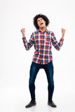 Cheerful afro american man celebrating his success Stock Image