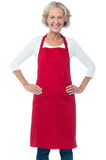 Cheerful aged confident female chef Stock Images