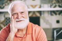 Cheerful aged man stock photos
