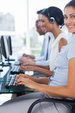 Cheerful agent working on call centre Royalty Free Stock Images