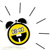 Cheerful alarm clock. Illustration with the image of a cheerful alarm clock in the form of a emoticon smile on a white background Royalty Free Stock Photo
