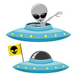 Cheerful alien and ufo Stock Image