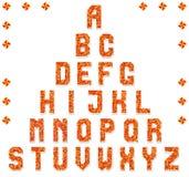 Cheerful alphabet of triangular mosaics. Fiery colors. Vector illustration Stock Photography