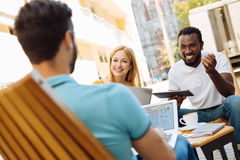 Cheerful ambitious people having a business meeting Royalty Free Stock Images