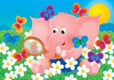 Cheerful animals 01. Illustration for children. A series 'Cheerful animals'. The elephant vector illustration