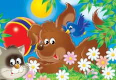 Cheerful animals 04. Illustration for children. A series Cheerful animals. Dog, cat and bird play in a ball Royalty Free Stock Image