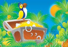 Cheerful animals 07. Illustration for children. A series 'Cheerful animals'. Parrot on a chest with treasures Royalty Free Stock Photo