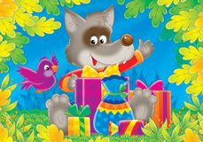 Cheerful animals 08. Illustration for children. A series Cheerful animals. The wolf with gifts Stock Image
