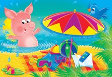 Cheerful animals 10. Illustration for children. A series Cheerful animals. Pig on a beach Stock Photo