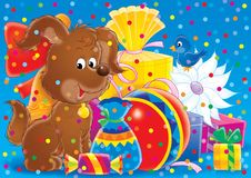 Cheerful animals 13. Illustration for children. A series Cheerful animals. Dog with gifts Stock Photos