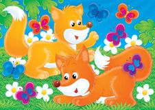Cheerful animals 14. Illustration for children. A series Cheerful animals. Fox and butterfly Royalty Free Stock Images