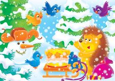 Cheerful animals 19. Hedgehog  and bird in a New Year's wood. Illustration for children. A series 'Cheerful animals Royalty Free Stock Images