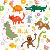 Cheerful animals. Seamless vector elements of children's drawings royalty free illustration