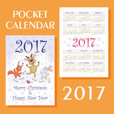 Cheerful animals calendar. Greeting card merry Christmas and happy New Year with the image of funny animals. Pocket calendar 2017 royalty free illustration