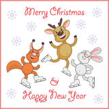 The cheerful animals. Greeting card merry Christmas and New Year with the image of funny animals vector illustration
