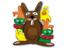 Cheerful animals mix. Cheerful animals: rabbit, lamb, duck, bunny and chicken royalty free illustration