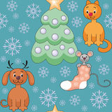 Cheerful animals pattern. Christmas seamless pattern with the image of funny pets and Christmas tree royalty free illustration