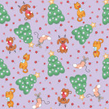 Cheerful animals seamless. Christmas seamless pattern with the image of funny pets and Christmas tree vector illustration