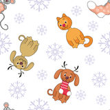 Cheerful animals seamless pattern. Christmas seamless pattern with the image of funny pets vector illustration