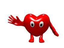Cheerful animation heart. Cheerful heart with the lifted hand Stock Image
