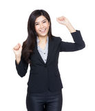 Cheerful asia business woman. Isolated on white Royalty Free Stock Photo