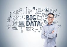 Cheerful Asian businessman, big data Stock Image
