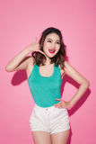Cheerful asian girl with professional makeup and stylish hairsty Royalty Free Stock Photo