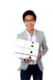 Cheerful asian man with folders Royalty Free Stock Images