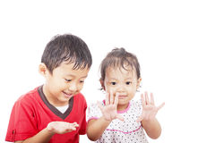 Cheerful asian siblings Royalty Free Stock Photography