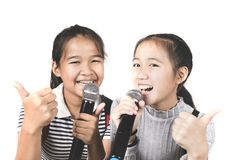 Cheerful asian teenager friend sing a song with happiness emoti. On stock image
